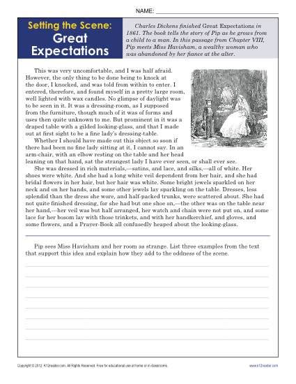 Worksheets are reading comprehension practice test, introduction, nonfiction reading. Setting the Scene: Great Expectations | 9th - 10th Grade Reading Comprehension Worksheets