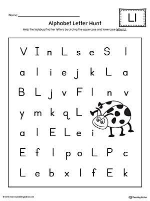 preschool worksheets for the letter l alphabet letter hunt letter l worksheet myteachingstation com