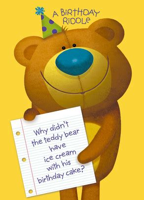 happy birthday riddles birthday teddy bear riddle happy birthday card cardstore
