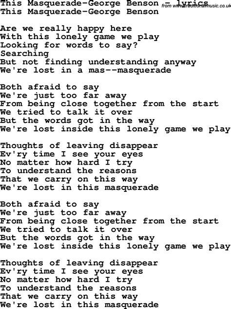masquerade song  rags lyrics