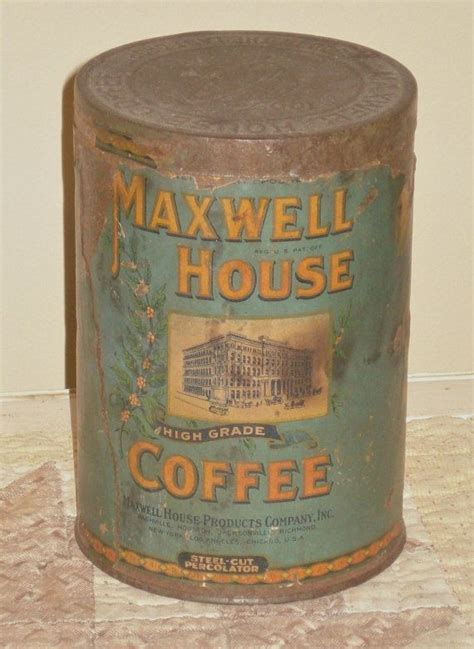 Antique Coffee Tin   Paper Label   No Holes   Maxwell