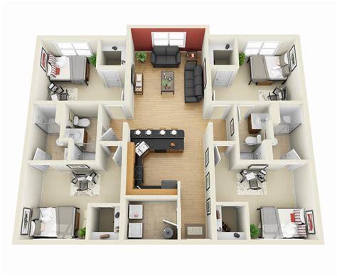 """50 Four """"4"""" Bedroom Apartmenthouse Plans  Floor Plans"""