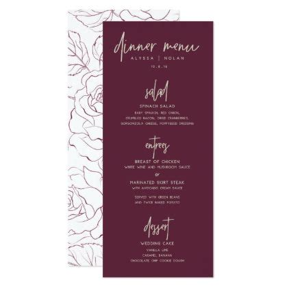 wedding dinner menu zazzlecom avec images menu