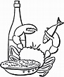Seafood Dinner Line Art - The Graphics Fairy