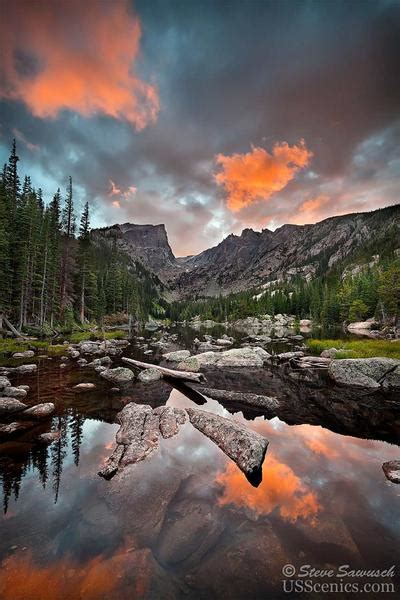 fire dream dream lake sunset  rocky mountain national