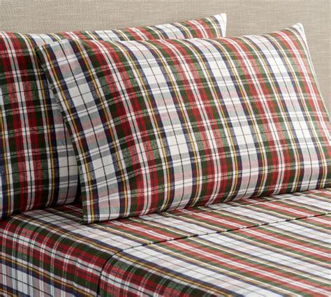 Denver Plaid Organic Flannel Sheet Set   Pottery Barn
