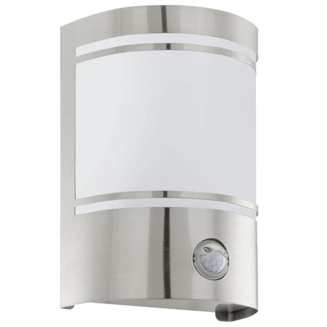 eglo 30192 cerno pir outdoor ip44 stainless steel wall light