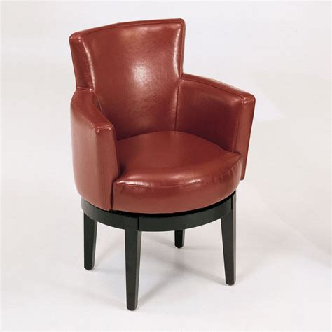 Swivel Bycast Leather Club Accent Chair Red  Accent Chairs