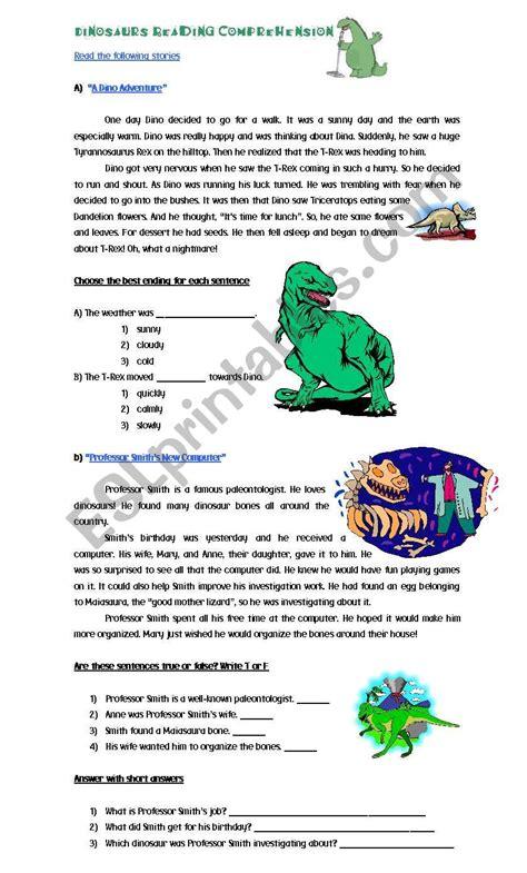 reading comprehension worksheet dinosaurs english worksheets dinosaurs reading comprehension