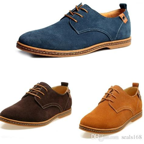 New Mens Casual Dress Formal Oxfords Shoes Wing Tip Suede Leather Flats Lace Up Big Size Shoes ...