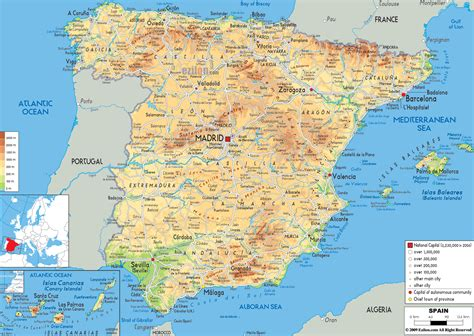 physical map  spain ezilon maps