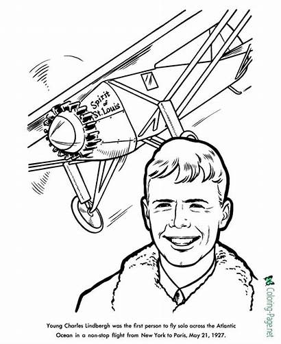 Coloring Lindbergh Charles Pages History American Louis