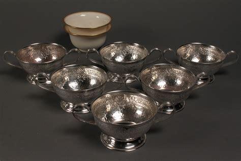 lot 388 set of 6 sterling bouillon holders