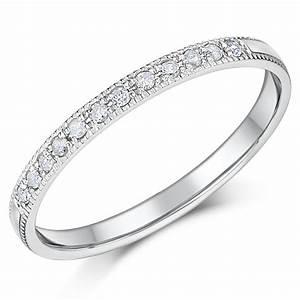 2mm Palladium Diamond Eternity Wedding Rings Palladium