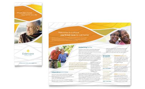 Home Health Care Brochure Templates by Assisted Living Brochure Template Design