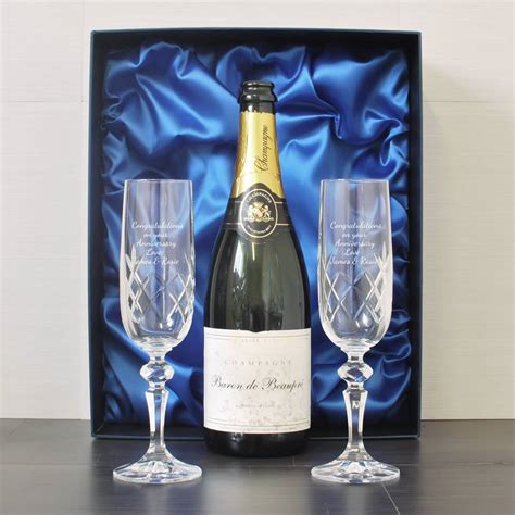 engraved crystal flutes  champagne  box