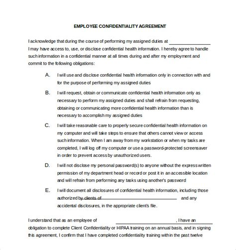 employee confidentiality agreement business forms 19 confidentiality agreement templates doc pdf free