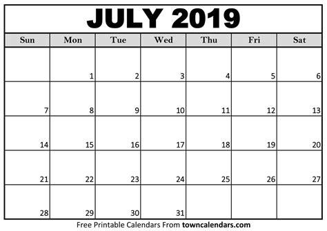 Downloadable Calendar July 2019