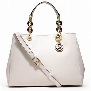 Michael Michael Kors Cynthia Leather Satchel Bag in White ...