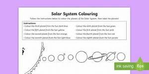 Solar System Colour By Instructions Worksheet    Worksheet