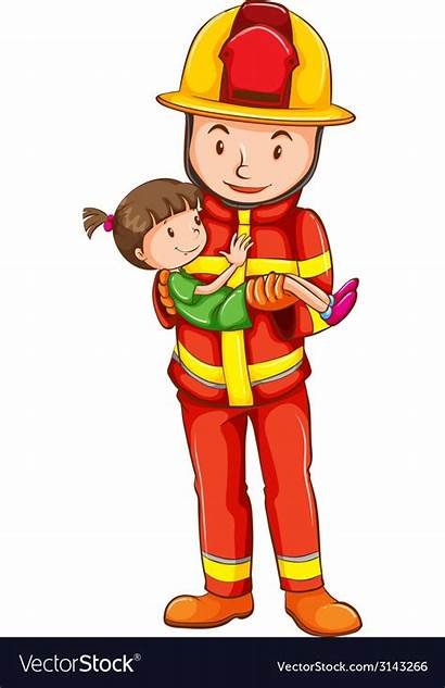 Fireman Drawing Young Rescuing Vector
