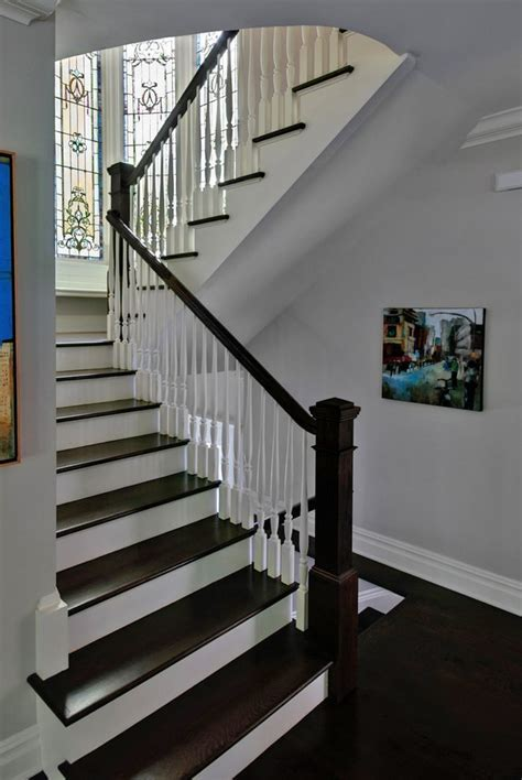 Marvelous White Spindles with Recessed Lights Carved Newel
