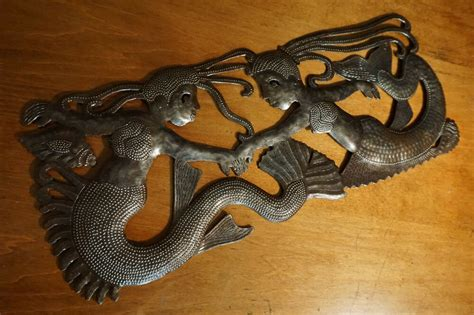 Large Mermaid Twin Sisters Hand-crafted Metal Wall