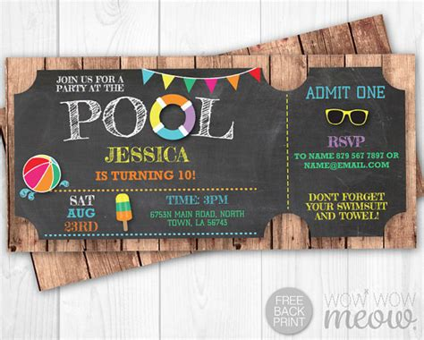 pool party invitations  birthday invite swimming