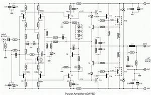 Build A 60w Transistored Power Amplifier Circuit Diagram