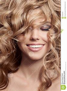 Beautiful Smiling Woman Healthy Long Curly Hair Stock