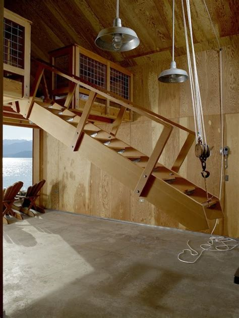 pully system staircase garage stairs garage loft loft