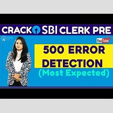 Crack Sbi Clerk Pre  500 Error Detection (most Expected) (part2)  English Youtube