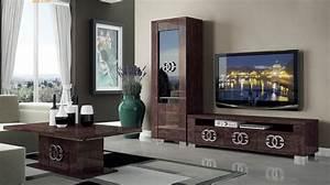 Walnut Brown TV Stand with Side Vitrine Shelves Hialeah