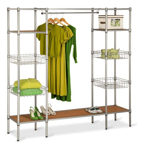 honey can do freestanding steel closet with basket shelves
