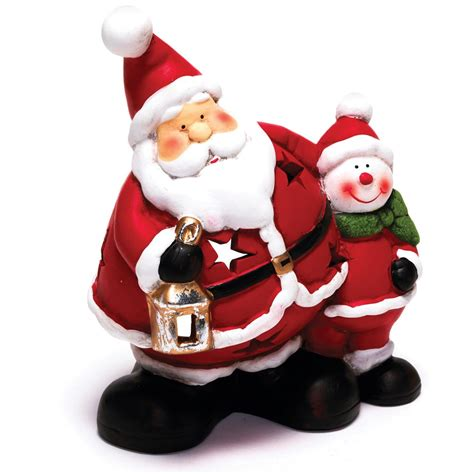 painted ceramic santa friend tea light holder