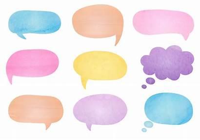 Bubble Speech Bubbles Words Watercolor Thought Message