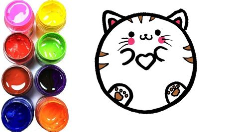 como dibujar  colorear gato donut kawaii dibujos