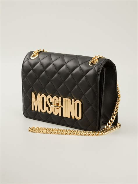 moschino quilted shoulder bag  black lyst