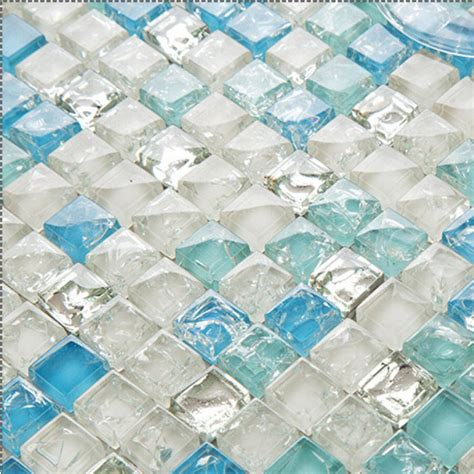 Sea Blue Tile Backsplash Crystal Glass Mosaic Crackle