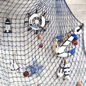 Mediterranean Style Decorative Fish Net With Shells Blue ...