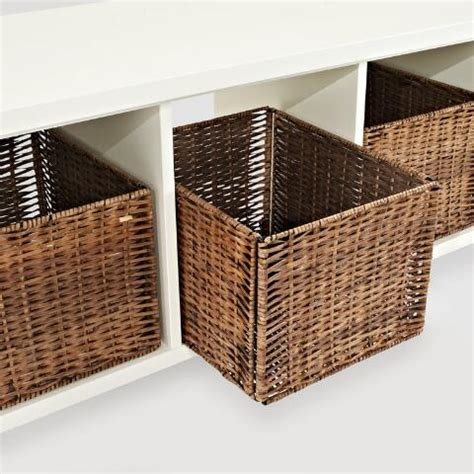 White Wood Storage Bench by White Wood Cassia Entryway Storage Bench With Baskets