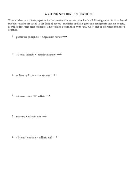 net ionic equations worksheet answers writing net ionic equations worksheet worksheets for all