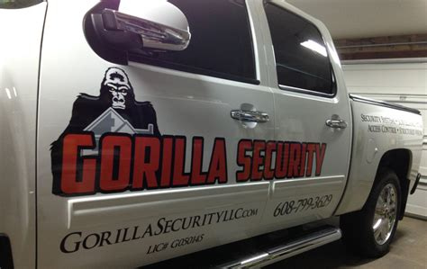 a of logo truck lettering truck lettering gorilla security vehicle lettering klings designs 83150