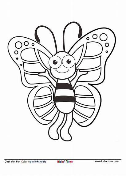 Coloring Butterfly Cartoon Kidzezone Worksheet Letter Wings