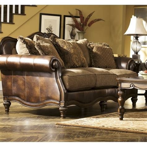 ashley claremore faux leather sofa in antique 8430338