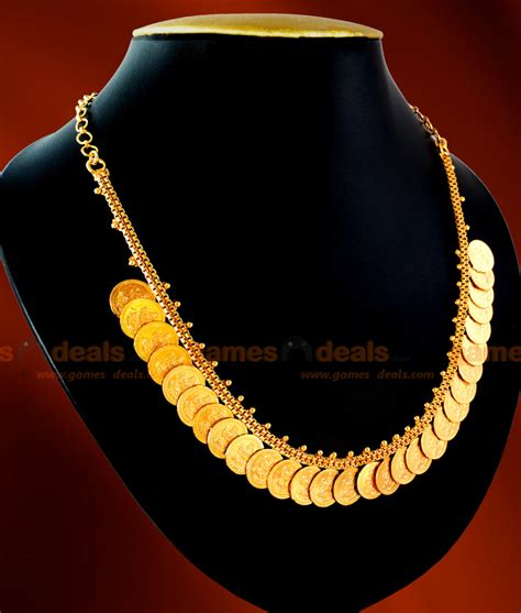 nckn02 one gm chidambaram gold plated jewellery lakshmi kasu malai design necklace
