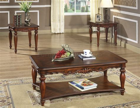 Rich Walnut Finish Traditional 3pc Coffee Table Wcocktail