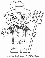 Pitchfork Farmer Coloring Vector Outlined Happy Young Illustration Shutterstock Holding Line sketch template