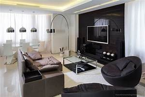Captivating Living Room Setup Design With Wall Mounted