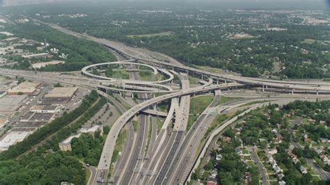 Qianchun Interchange by 5k Stock Footage Aerial Approaching The I 495 I